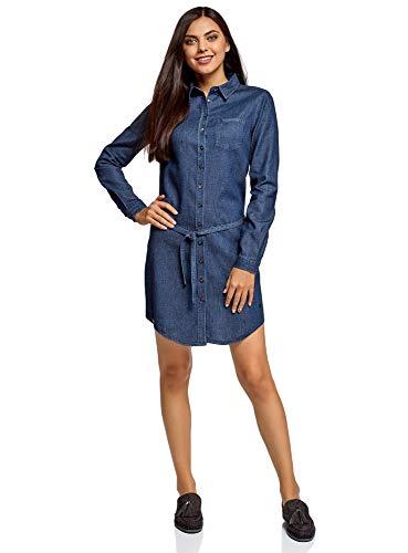 oodji Ultra Donna Abito in Jeans con Cinta e Tasca su Petto, Blu, IT 40 / EU 36 / XS