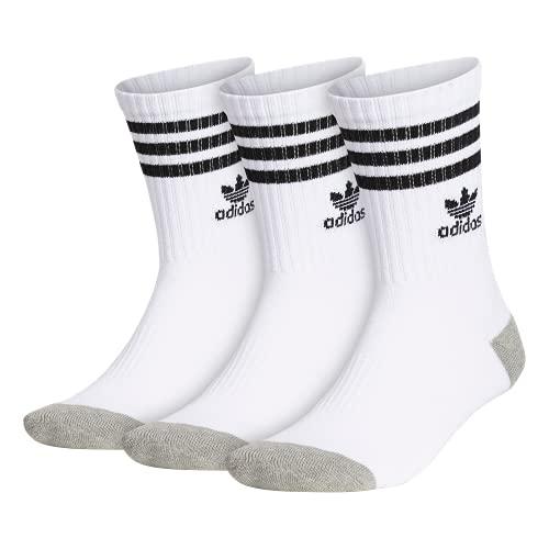 adidas Originals Youth Kids BoysGirls Roller Crew Sock 3 Pair WhiteBlack WhiteBlack WhiteBlack Large Shoe Size 3Y 9