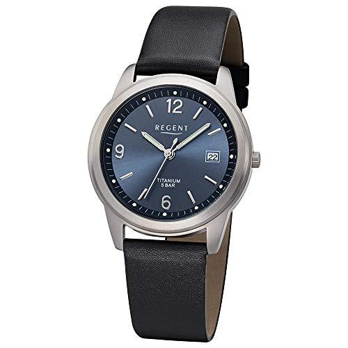 Regent Herren Uhr F-682 Leder Quarzwerk Armband-Uhr Titan-Uhr schwarz URF682