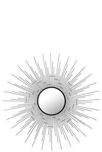 Miroir Rond Soleil Metal Noir (70x70x3cm) JOLIPA JLINE 93791