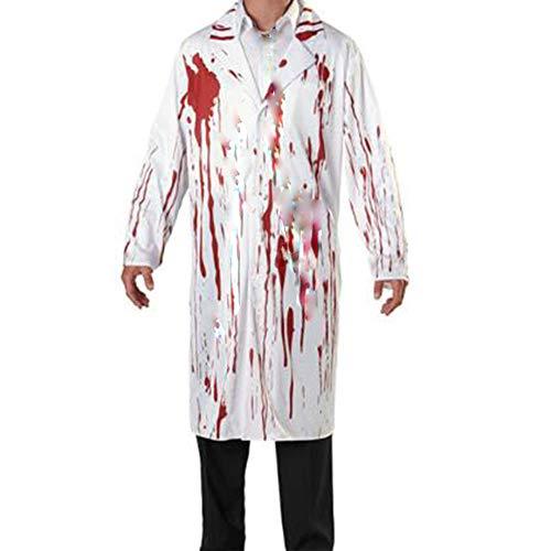 ZCC Halloween blutigen männlichen Arzt Kostüm blutigen Geist COS Kostüm Horror Kleid Leistung Kleidung Erwachsenen Horror Vampir Arzt Roben Bühnenshow blutige Kleidung,Weiß,L