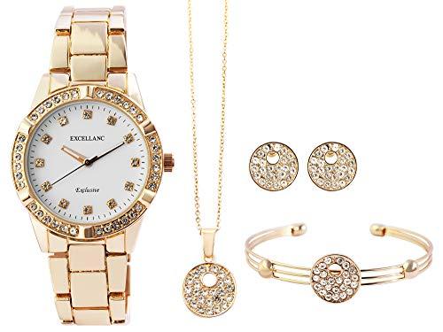 Excellanc Damen-Geschenkset Armbanduhr Kette Ohrstecker Armreif Metall 1800204 (goldfarbig)