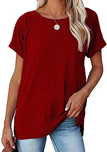 Camisetas de verano para mujer de manga corta, sueltas y casuales, Vino Rojo 2, 54