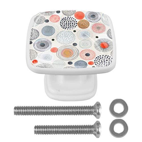 4 tiradores de cocina para armarios de cocina, cajones, tiradores con tornillos para cocina, aparador, armario, baño, armario, colorido patrón de círculo