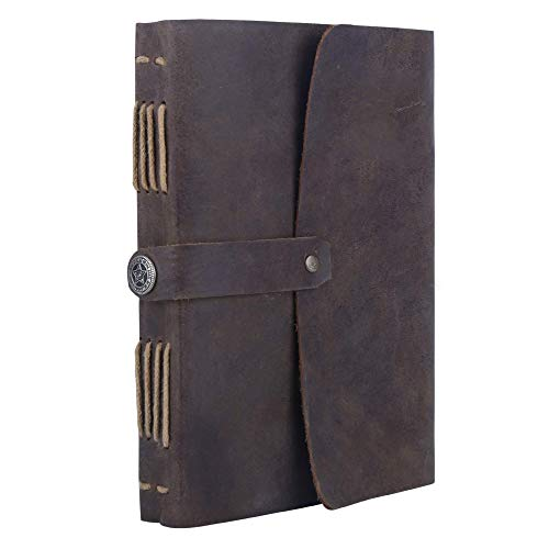 Leather Bound Journal for Men Women, Handmade Daily Unlined Plain Paper Natebook Diary Personal Use Vintage Design with Functional Strap Easy to Open Closure