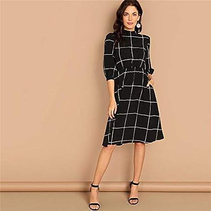 XGDLYQ Black Frilled Neck Plaid Print Women Casual Dress Spring Stand Neck Mid Waist A Line Workwear Ladies Dresses