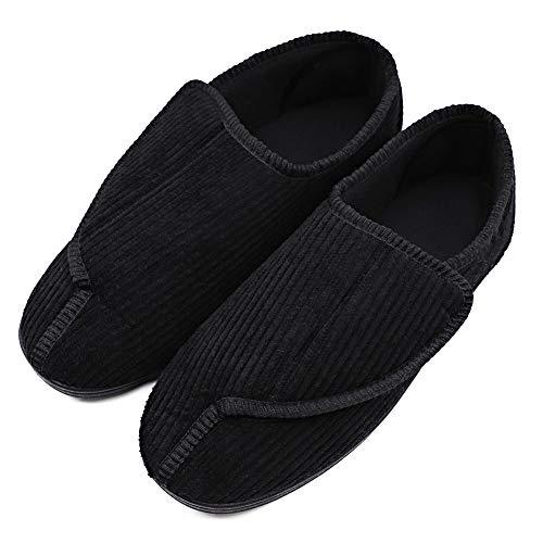 Men s Diabetic Slippers Adjustable House Shoes Warm Plush Fleece Comfortable Non-Skid Relief for Wide Swollen Feet, Elderly, Diabetes, Swelling, Edema, Arthritis