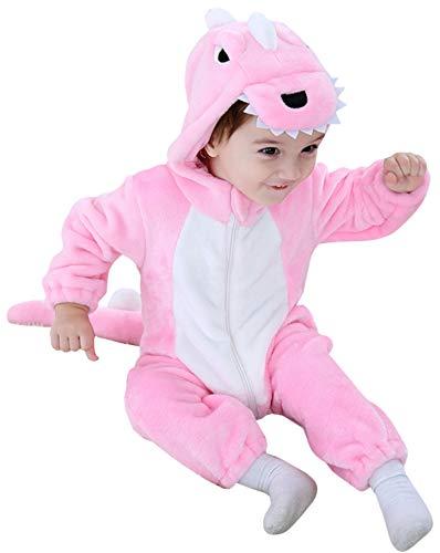 Katara 1778 Dino-Saurier Baby-Kostüm Karneval, kuscheliger Jumpsuit, Verschiedene Tiere & Größen, Pyjama-Qualität, rosa