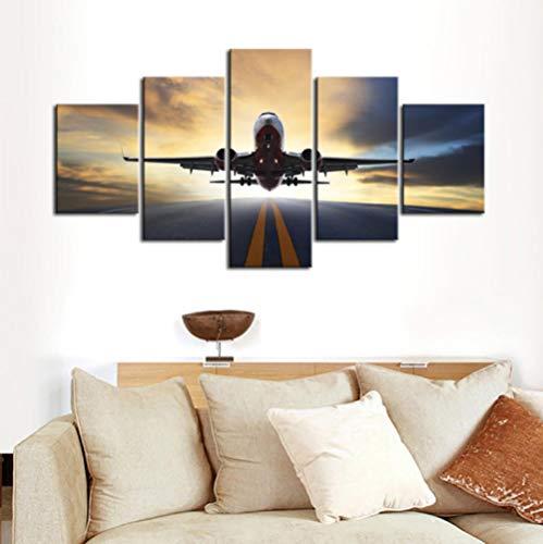 FEISENWLH Cartel para Sala de Estar Moderno HD Impreso 5 Paneles avión Plano Paisaje Pared Arte hogar decoración Lienzo Pintura Cuadros-Sin Marcos