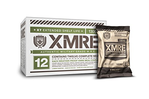 XMRE 1300XT-Extended Shelf Life Military Grade-MREs-Fully Cooked-No Refrigeration-Perfect for Military, Law Enforcement, Disaster Preparedness & Outdoor Enthusiasts-12 Meals/12 Menus Per Case-USA Made