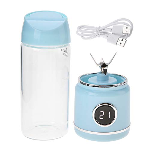Draagbare fruitpers, elektrische fruitpers blauw 420ml oplaadbare usb fruitpers handheld fruitpers blender sapfles beker
