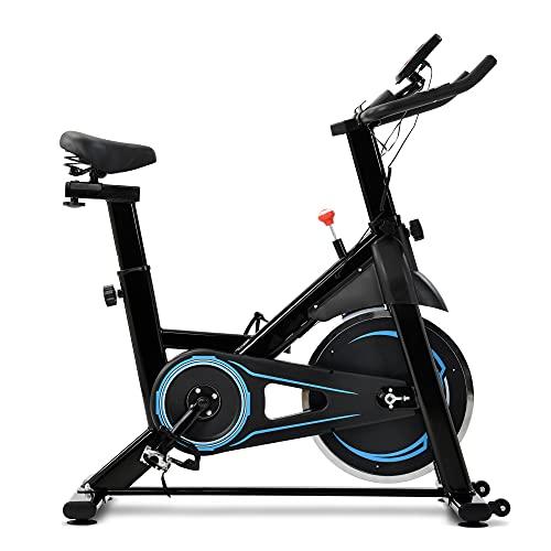 WGFGXQ Bicicleta Estática, Bicicleta de Fitness con Soporte para iPad, Monitor LCD y Cómodo Cojín de Asiento, Ruedas de Volante de 8 kg, Entrenamiento de Gimnasio en Casa