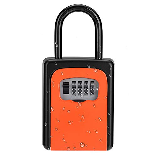 ZHEGE Schlüsseltresor Zahlencode [INSTALLATIONSFREI] 4-Stellig Schlüsselbox mit Bügel Aussen, Klein Schlüsselkasten Wetterfeste, Orange