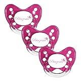 Dentistar® Schnuller 3er Set- Nuckel Silikon in Größe 3, ab 14 Monate - zahnfreundlich & kiefergerecht - Beruhigungssauger für Babys und Kleinkinder - BPA frei - Made in Germany - Pink Prinzessin
