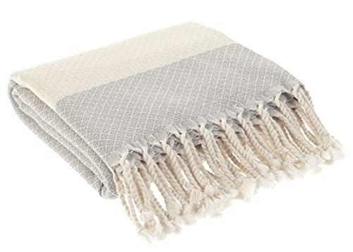Turkish Bath Towel 100% Cotton Peshtemal Beach Towels 39x78 Thin Lightweight Travel Camping Bath Sauna Beach Gym Pool Blanket Gift Quick Dry Towels ( Gray)