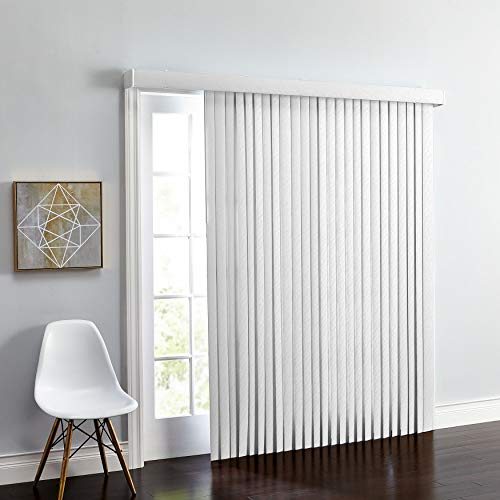 BrylaneHome Embossed Vertical Blinds - 78I W 84I L, White