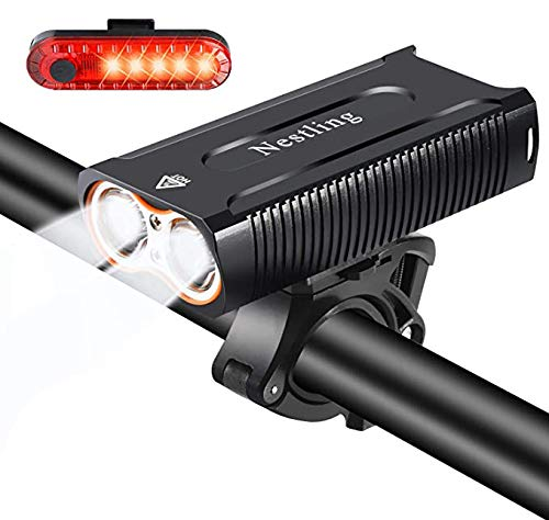 Nestling®Luz Bicicleta LED Recargable USB, 4 Modos 2400 Lúmenes IP65 Impermeable, Linterna...