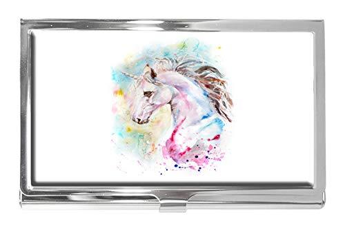 Tarjetero de Acero Inoxidable con diseño de Unicornio Rosa y Azul, para Hombre y Mujer