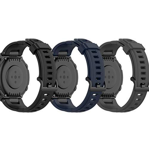 RuenTech - Correa de repuesto para pulsera Amazfit T-Rex de silicona, para hombre y mujer, tamaño pequeño (negro, azul marino y gris)