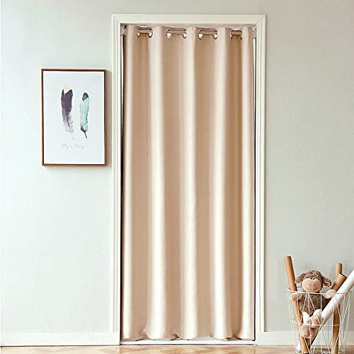 Room Divider Solid Blackout Curtains 78 Inches Long Grommet Drapes for Doorway Room Darkening Thermal Insulated Energy Efficient Window Treatment for Bay Window 1 Panel Beige W39 x L78 Inch