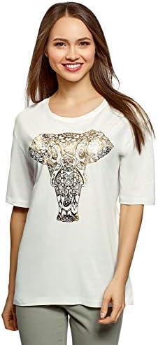 oodji Ultra Mujer Camiseta Holgada con Estampado