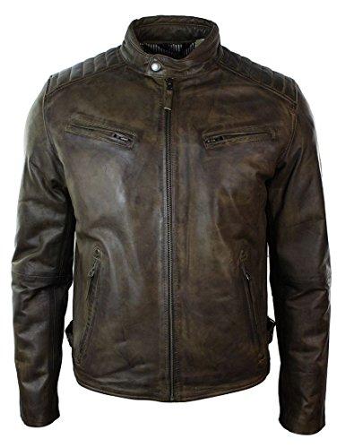 Veste Cuir véritable Homme Style cintré Biker rétro avec Fermeture éclair Couleur Marron