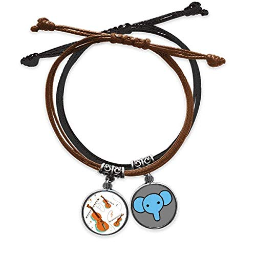 CaoGSH Violin Music Instruments Pattern Bracelet Rope Hand Chain Leather Elephant Wristband
