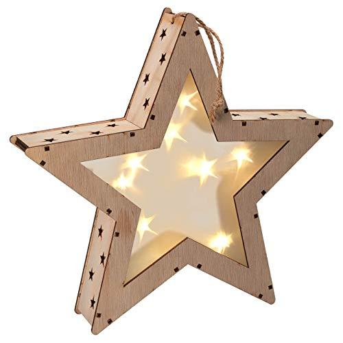 Holzstern 3D Optik 8 LED warm weiß Batterie Timer 25 cm Weihnachtsdeko Stern Xmas-Deko