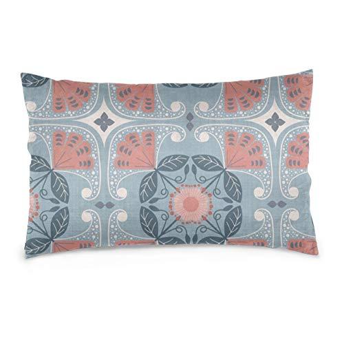 Funda de almohada de azulejos rústicos, decorativa, suave y acogedor, tamaño Queen estándar, 50,8 x 76,2 cm, con cremallera oculta.