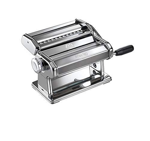 Marcato Atlas 180 Classic Máquina para Pasta Manual, Acero Cromado, Plata, 24 X 20 X 15.5 Cm