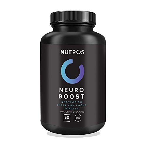NUTROS | Neuro Boost Suplemento | Nootrópico - Refuerza la memoria, Mejora el estado de ánimo y la claridad mental | 60 Cápsulas | A base de Ácido Fólico, Vitamina C, Vitamina B3, Colina, Magnesio y Calcio