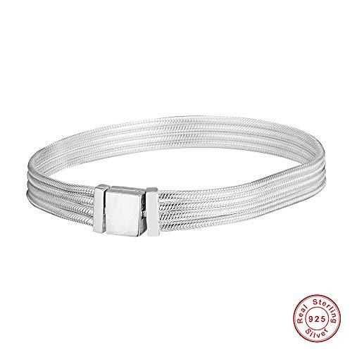 Chicbuy 2019 Feder-Reflexionen Multi Schlangenkette Armband 925 Silber DIY passend für Original Pandora Armbänder Charm-Anhänger Modeschmuck 19 cm
