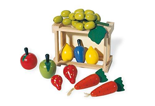 Pinolino Kiste mit Gemüse, aus massivem Holz, viele verschiedene Gemüse- und Obstsorten enthalten, für Kinder ab 3 Jahren