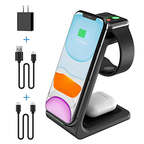 2020 Update Wireless Charging Station, JoyGeek 3 in 1 Wireless Charger, Qi Fast Charging Stand Dock for Apple Watch, AirPods, iPhone SE/11 Pro/X/XR/XS/XS Max/8 Plus Samsung Galaxy S10/ S9/ S8/ S7