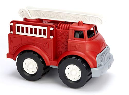Green Toys Fire Truck, Red FFP - Pretend Play, Motor Skills, Kids Toy Vehicle. No BPA, phthalates, PVC. Dishwasher Safe, Recycled Plastic, Made in USA.