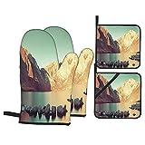 Juego de 4 Manoplas para Horno y Soportes para ollas,Snow Mountain y Convict Lake con Reflejos en el Campo de Yosemite,Guantes de poliéster para Barbacoa con Forro Acolchado,