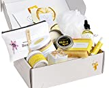 Spa Gift Set, Pampering Relaxing Box, Citrus Care Package for Women, Including 9 pc- Soap Bar, Facial Mask, Shower Streamer, Body Oil, Lip Balm, Cosmetic Bag, Soy Candle & Sponge by Lizush.