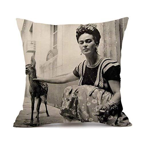 Funda de almohada STBB, adecuada para la funda de almohada decorativa de autorretrato de la pintora mexicana Frida Kahlo, funda de almohada decorativa para sofá, sala de estar y dormitorio (18 x 18)