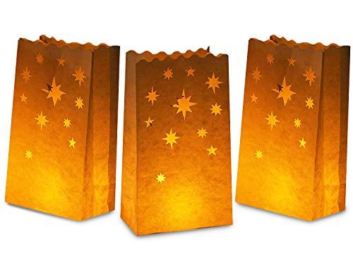 Witte lichtgevende tassen - 24-pack kaarsen lantaarn papier zak, brandvertragend papier, lichtgevende voor bruiloften, verjaardagen, Halloween partij decoratie, sterren ontwerp, ivoor wit, 5,9 x 10 x 3,5 inch