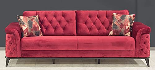 Casa Padrino sofá Cama Chesterfield Rojo/Negro 230 x 90 x A. 80 cm - Sofá de salón Moderno - Muebles de Salón Chesterfield