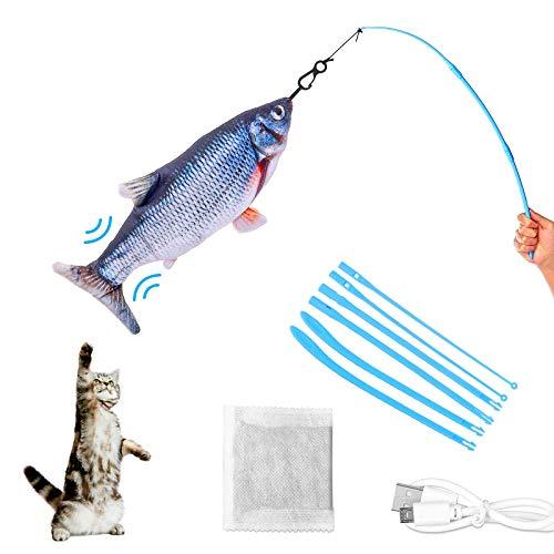 CAMTOA Elektrisches Katzenspielzeug Interaktives Katzenspielzeug,USB Wiederaufladbare Simulation Katze Plüsch Fisch Kauspielzeug,Katzenminze Flippity Fisch mit Spielangel