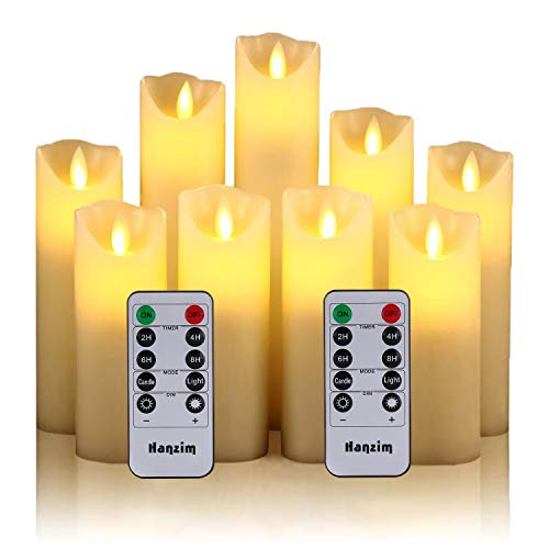 Flameless Candles Set of 9 Ivory Dripless Real Wax Pillars Include Realistic Dancing LED Flames and 10-Key Remote Control with 24-Hour Timer Function 400+ Hours by 2 AA Batteries (Ivory) (91)