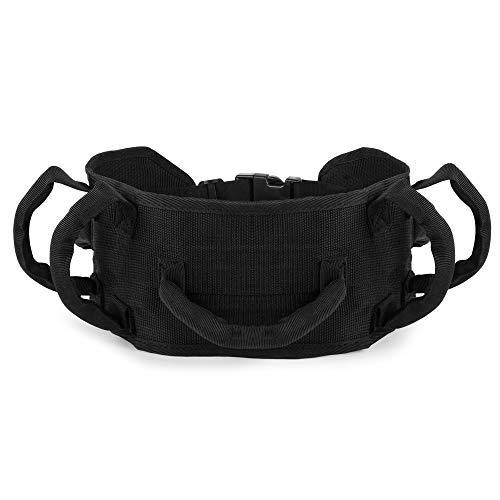 REAQER Cinturón de Transferencia con Bucles Gait Cinturón de Transferencia de Seguridad Médica para Pacientes Mayores y Discapacitados(Negro) 🔥