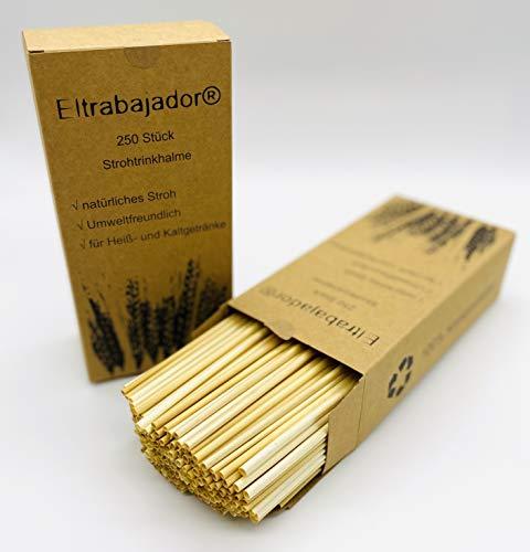 Eltrabajador® 250Stück Trinkhalme 100% BPA frei aus echten Stroh die nachhaltige Alternative zu Plastik Trinkhalme auch für Insektenhotel geeignet