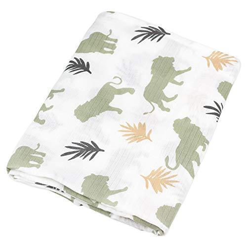 Oliver & Rain Boy Organic Muslin Swaddle Baby Blanket, Watercolor Lion