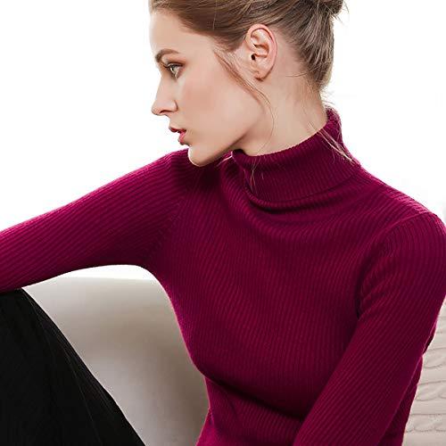 Damen Rollkragenpullover aus Kaschmir mit langem Arm und geripptem Strickpullover,H,M
