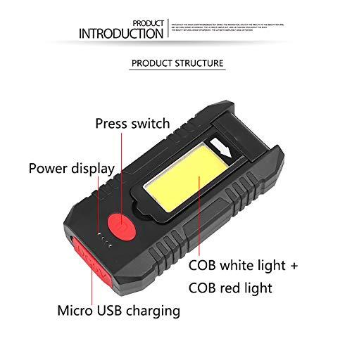 ACHICOO Tragbares COB LED-Arbeitslicht, das drehbare USB-Ladetaschenlampe mit hängendem Haken faltet