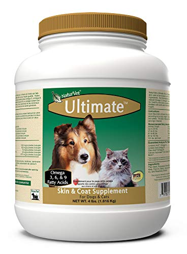 NaturVet Ultimate Skin & Coat Powder Pet Supplement for Dogs & Cats – Includes Omegas 3, 6, 9, Biotin, Vitamins – For Healthy Dog Coats, Cat Skin – Tasty Food Topper for Pets – 4 lbs.