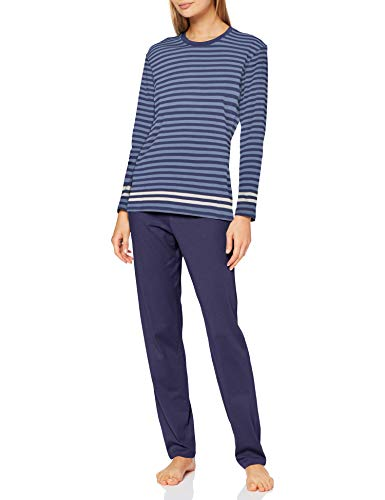 Schiesser Damen Anzug lang Pyjamaset, blau, 48