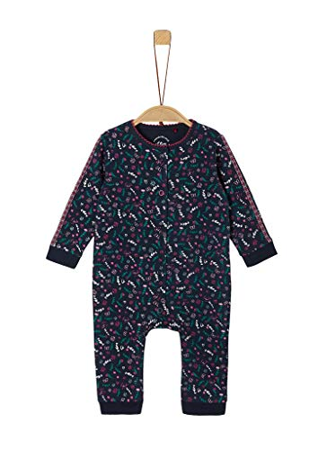 s.Oliver Unisex - Baby Overall lang Dark Blue floral p 50/56